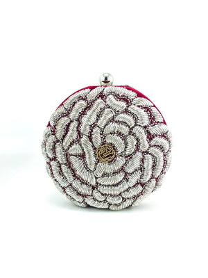 Red Flower Clutch - Desi Royale