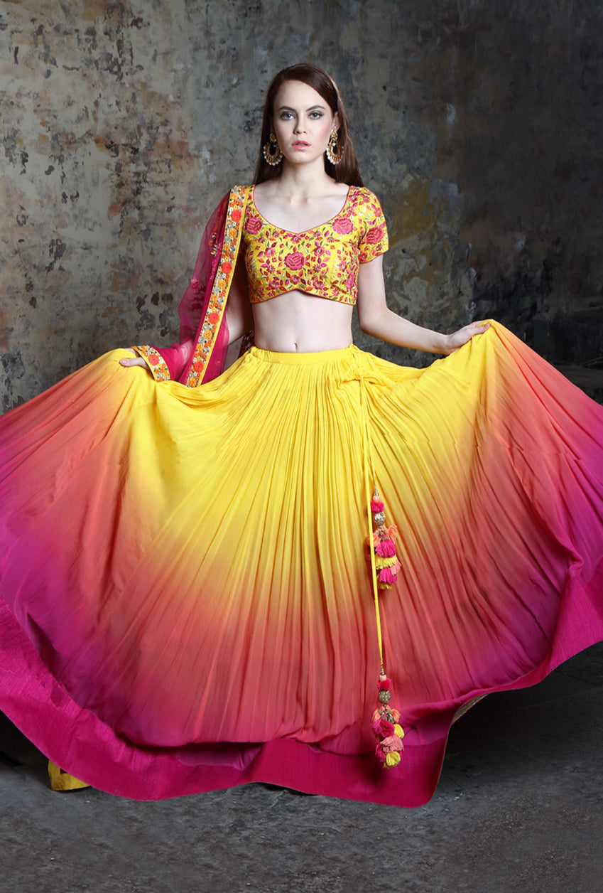Shaded Yellow And Pink Designer Lehenga Set - Desi Royale