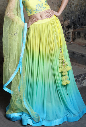 Shaded Yellow And Turquoise  Designer Lehenga Set - Desi Royale