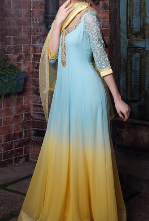 Blue And Yellow Embroidered Anarkali Suit - Desi Royale