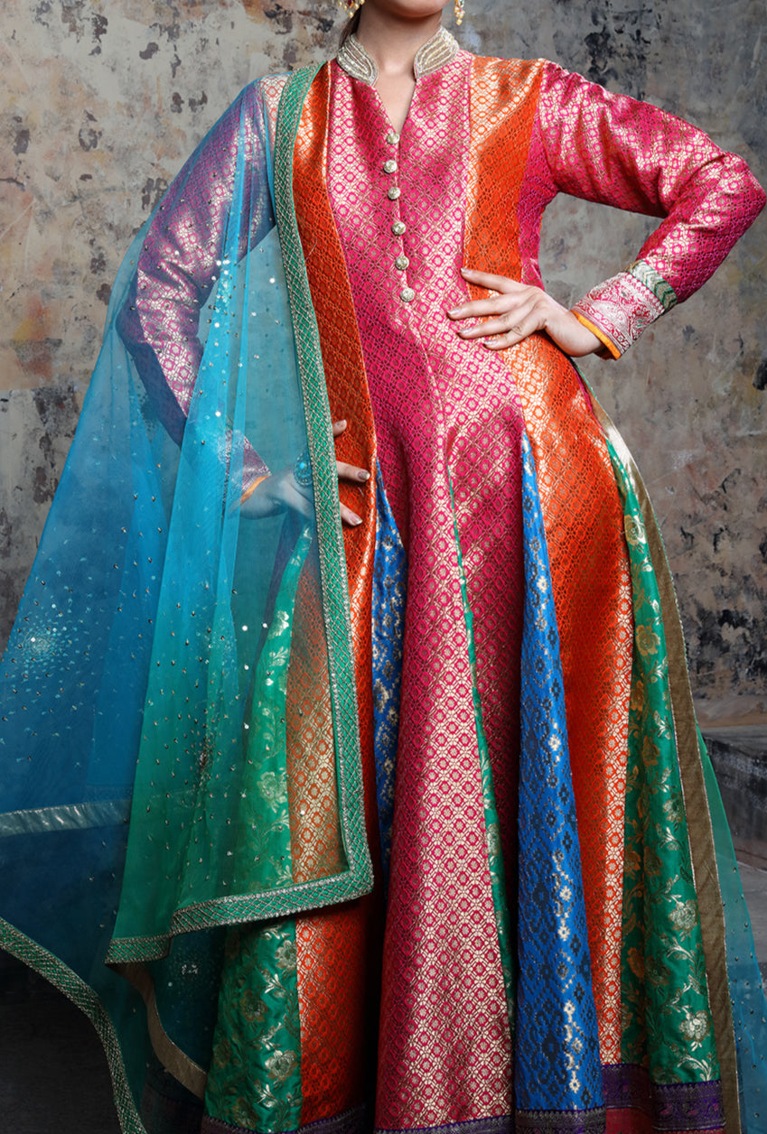 Multicolor Embroidered Anarkali Suit - Desi Royale
