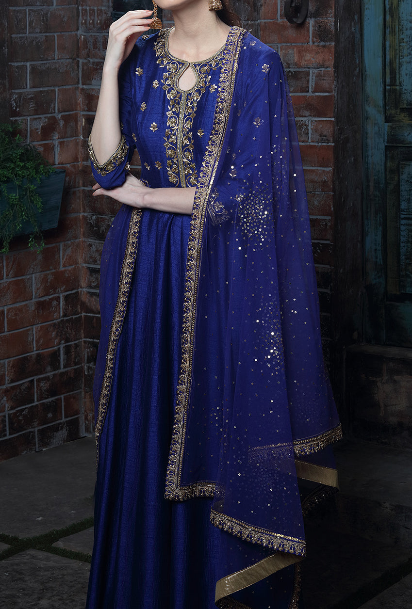 Navy Blue Embroidered Anarkali Suit - Desi Royale