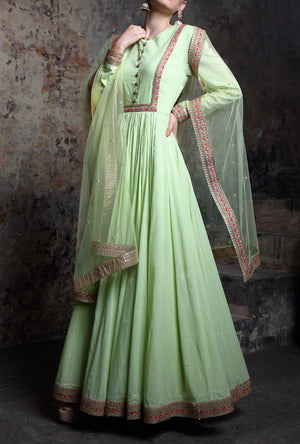 Pista Green Embroidered Anarkali Suit - Desi Royale