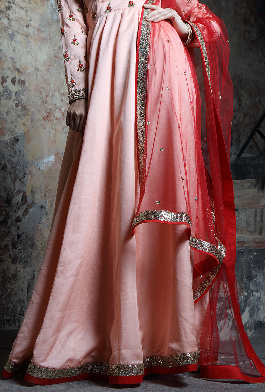 Peach Embroidered Anarkali Suit - Desi Royale