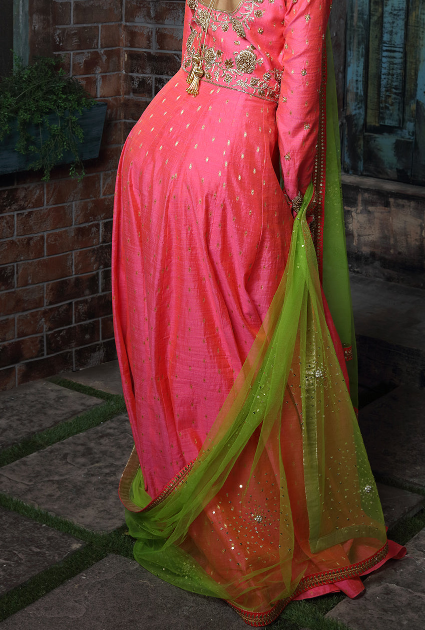 Pink Embroidered Anarkali Suit - Desi Royale