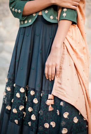 3D Embroidered Skirt With Green Jacket And Dupatta By Kanelle - Desi Royale