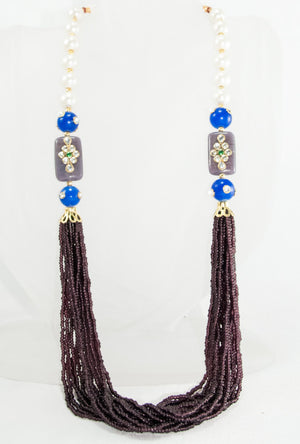 Oviya Necklace With Violet, Pearl And Blue Beads - Desi Royale