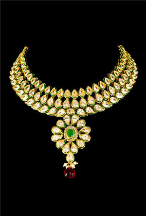 Designer polki necklace set - Desi Royale