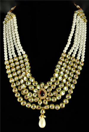 Elegant pearl and kundan necklace set with pearl drop - Desi Royale