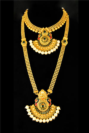 Antique peacock pendant necklace set - Desi Royale