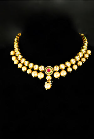Elegant kundan necklace set with pearl drop - Desi Royale
