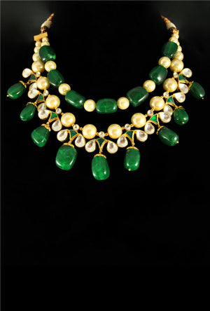 Beaded emerald kundan bridal necklace set - Desi Royale