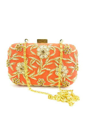 Peach Zardozi Flower Clutch - Desi Royale
