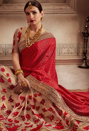 Red And Beige Designer Party Wear Saree - Desi Royale