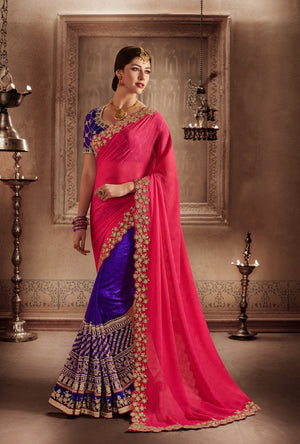 Pink And Purple Designer Party Wear Saree - Desi Royale