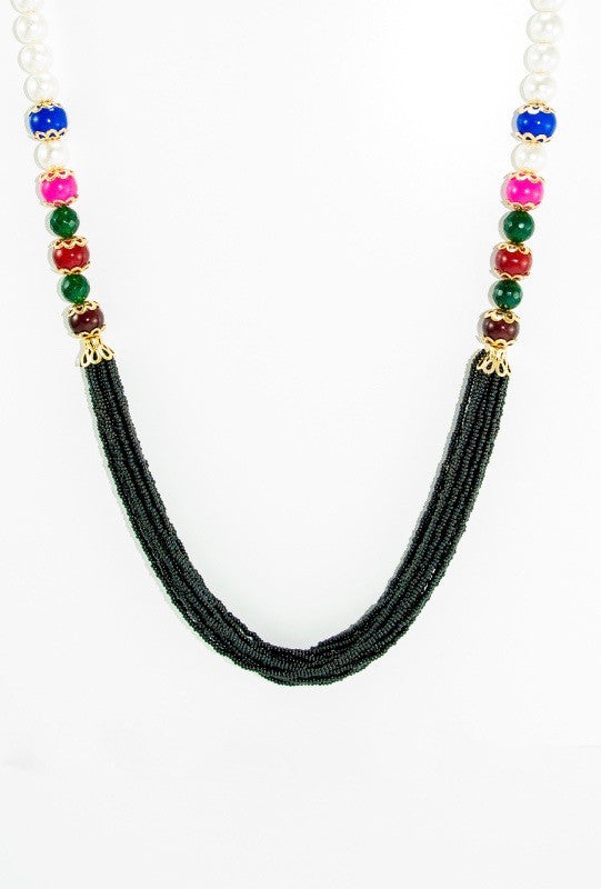Kaandhal Necklace With Colorful Beads - Desi Royale