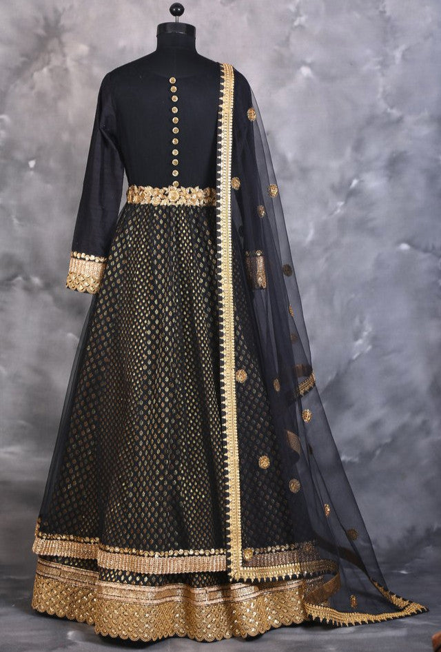 Black designer indian dress with dupatta - Desi Royale