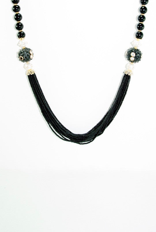 Bheema Necklace Set With Sterling Black Beads - Desi Royale