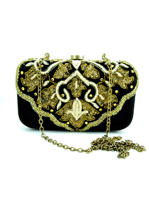 Black Velvet Clutch with Zardosi Embroidery - Desi Royale