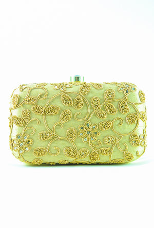 Gold Embroidered Clutch - Desi Royale