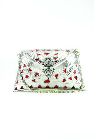 Silver metal Clutch with Red Tassles - Desi Royale