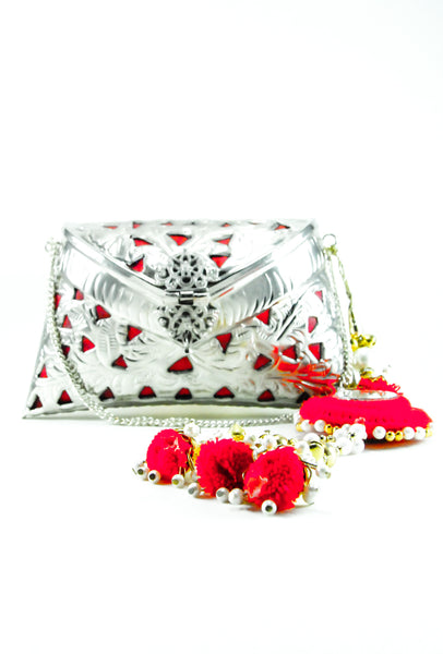 SILVER METAL CLUTCH WITH RED TASSLES