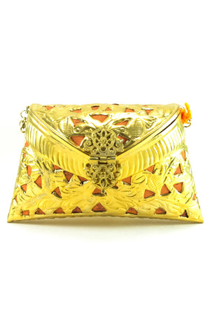 Gold Metal Clutch with orange Tassels - Desi Royale