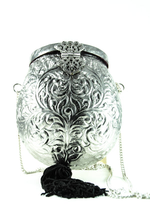 Silver Oval metal Clutch with Black Tassles - Desi Royale