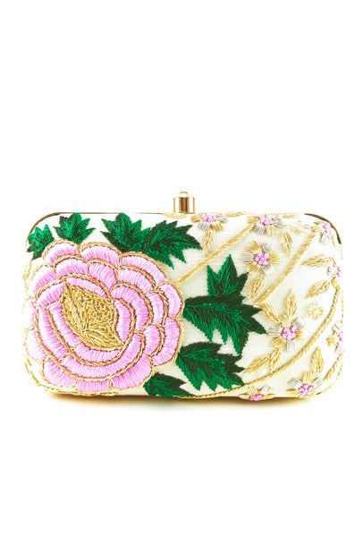 OFF WHITE EMBROIDERED BRIDAL CLUTCH BAG