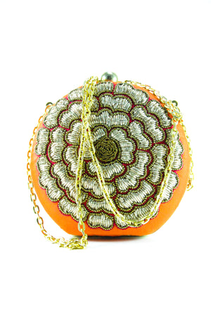 Orange Flower Clutch - Desi Royale