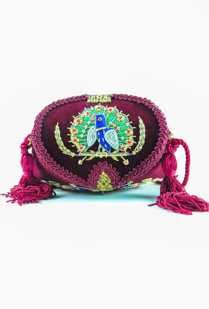 Burgundy Peacock Maharani brass clutch bag - Desi Royale