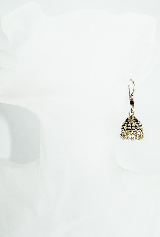 Gold dome shaped earrings with gold beads - Desi Royale