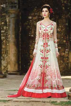 White And Red Designer Party Wear Suit - Desi Royale