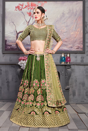 Green Silk Lehenga Choli - Desi Royale