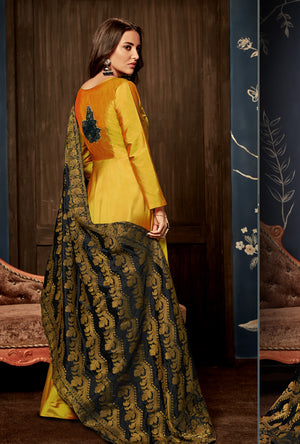 Mustard Yellow Anarkali Suit - Desi Royale