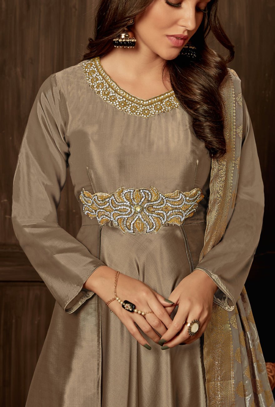 Copper Anarkali Suit - Desi Royale