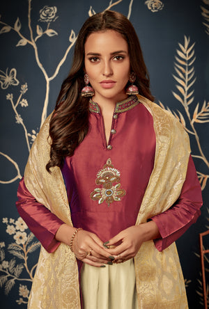 Metallic Maroon Anarkali Suit - Desi Royale