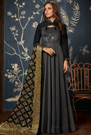 Steel Grey Anarkali Suit - Desi Royale