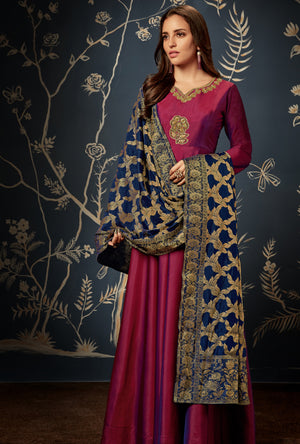 Maroon Anarkali Suit - Desi Royale