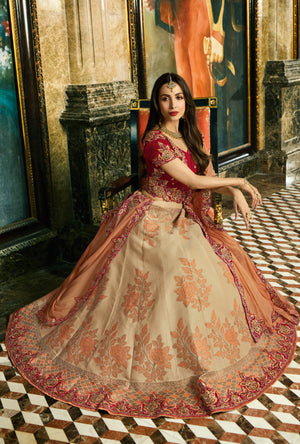 Maroon and Gold Silk Lehenga Choli - Desi Royale