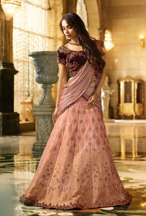 Dark Pink Silk Lehenga Choli - Desi Royale