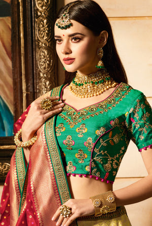 Green and Mustard Lehenga Choli - Desi Royale