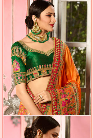 Mustard and Green Designer Saree - Desi Royale