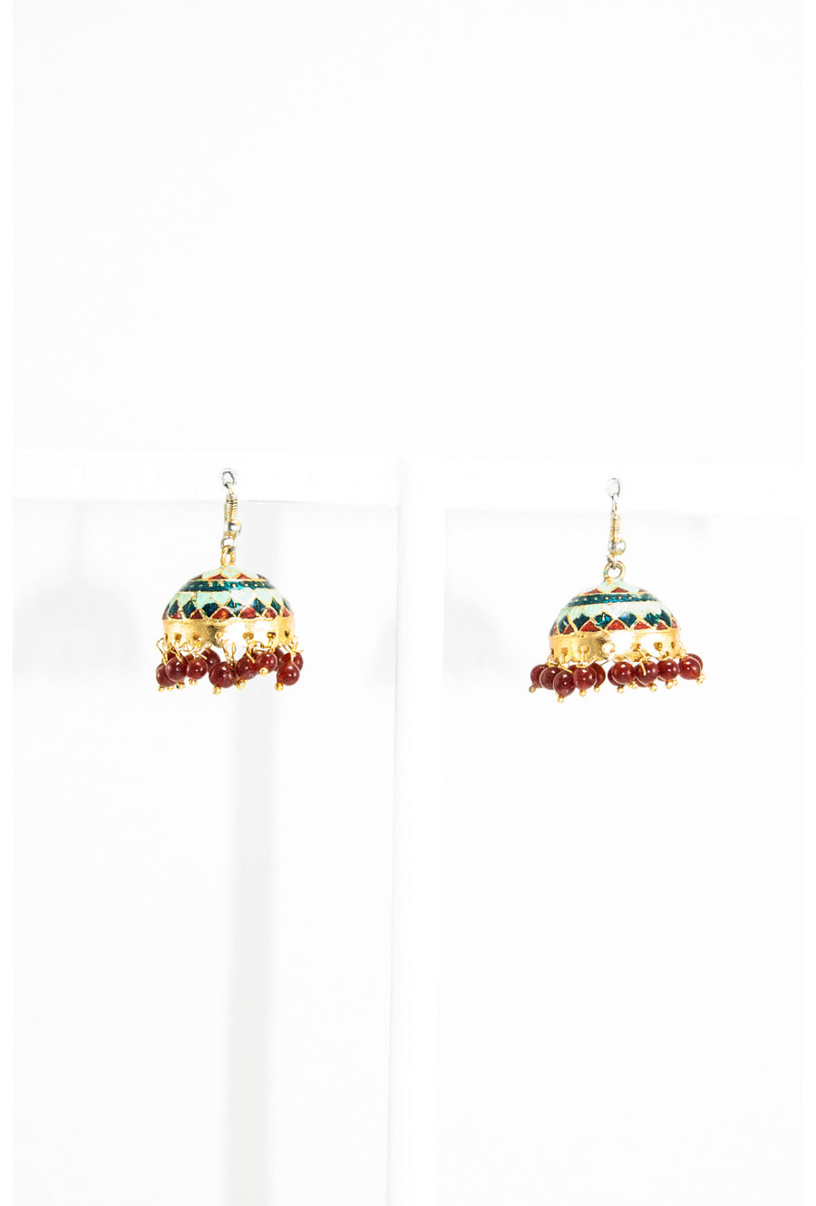 Multicolor meenawork earring with red drop - Desi Royale