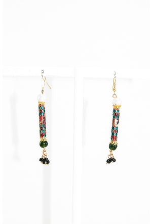 Multicolor meenakari work earrings with black drops - Desi Royale