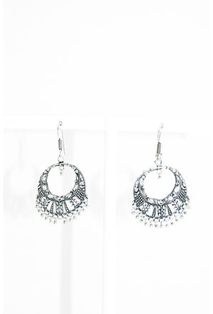 Silver round  earrings with beads - Desi Royale