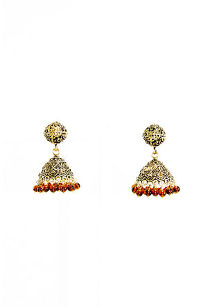 Gold dome earrings with brown beads - Desi Royale