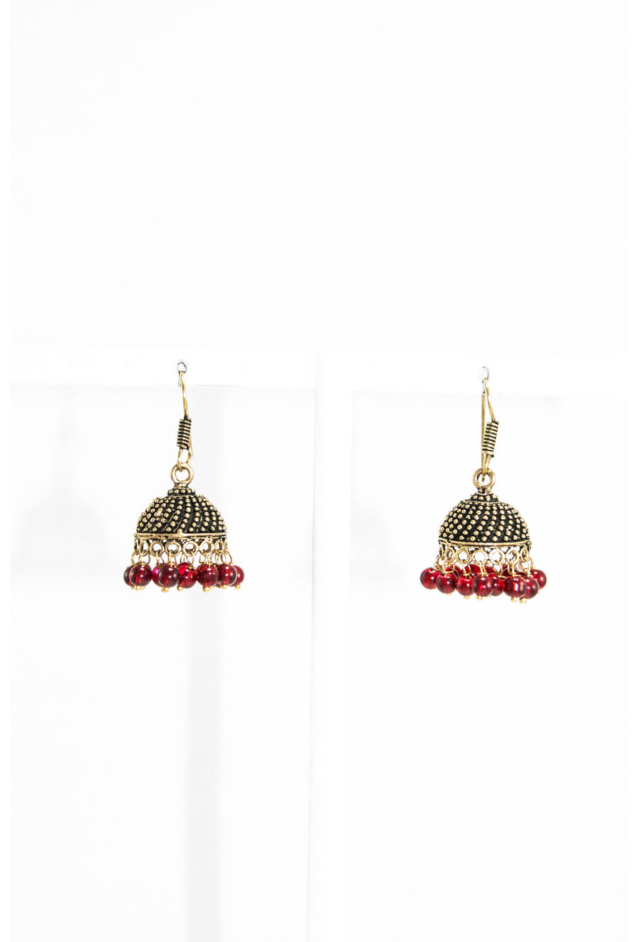 Gold domed earrings with maroon earrings - Desi Royale