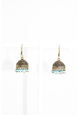 Gold earrings with blue beads - Desi Royale
