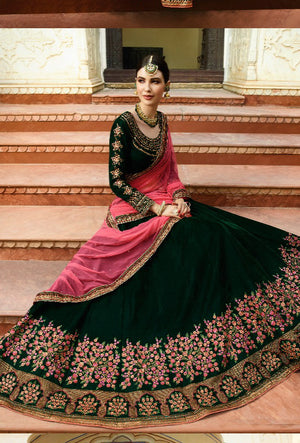 Green Velvet Lehenga Dress - Desi Royale